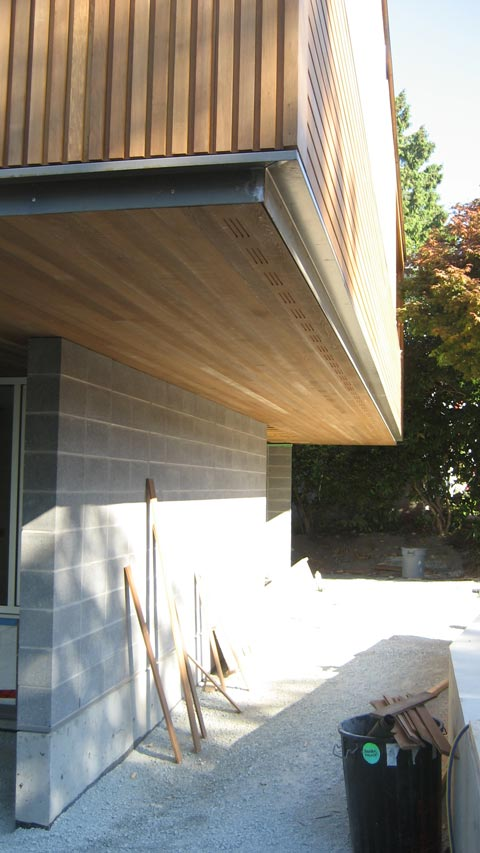 Detail  Cypress cedar soffit  siding  home building in