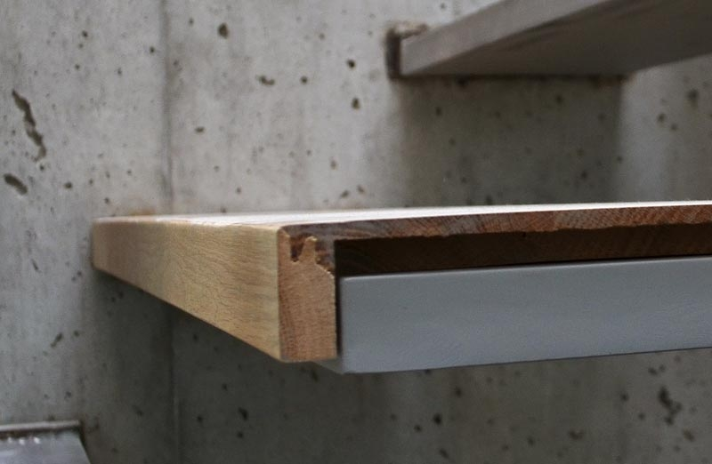 Detail – Cantilevered Stair « Home Building In Vancouver   Concrete And Wood Stairs   Concrete Wall   Separated   Concrete Building Interior   Glass Balustrade   White Riser Wood