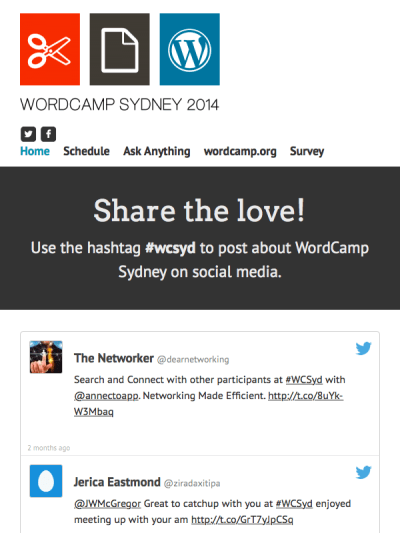 WordCamp Sydney mobile site