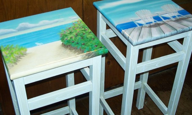 I Have Finished Painting 2 Seascapes On Bar Stools