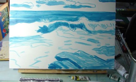 Seascape Painting – Third Step Is Painting On the Canvas