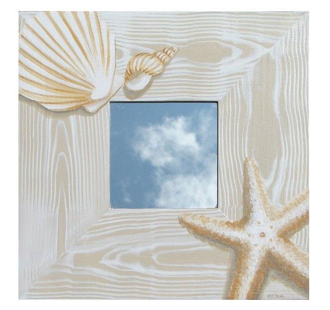 Hand Painted Seashell Mirror