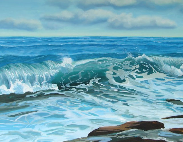 Seascape Oil Painting Step by Step – painted foreground water