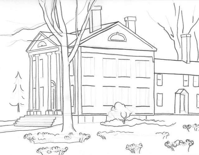 Sketching the Florence Griswold Museum in Old Lyme, CT
