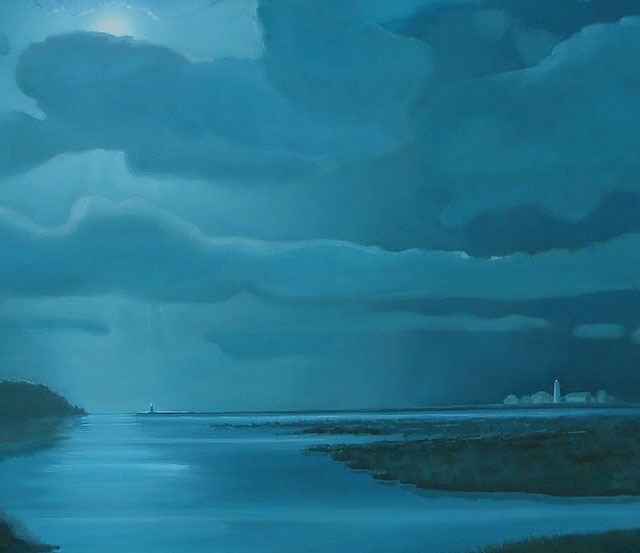 Blue Moonlight Oil Painting Finished – Four Foot by Four Foot Seascape on Canvas