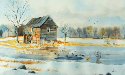 Snowy New England Landscape Painting – Watercolor with Ducks