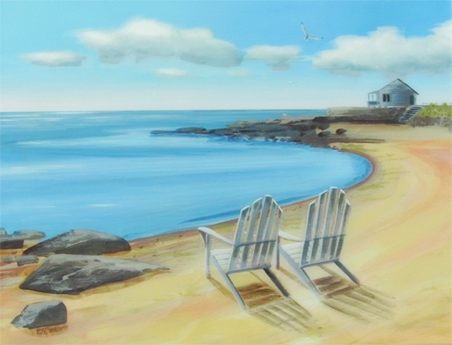 Seascape On Table – Acrylic Painting On Wood Table