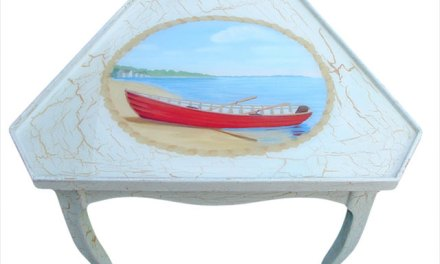 Painted Cottage Furniture Corner Table – Finished beach scene with thick clear finish