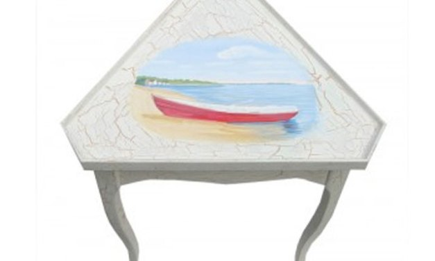 Painted Cottage Furniture – Next Step In Painting A Beach Scene On A Corner Table