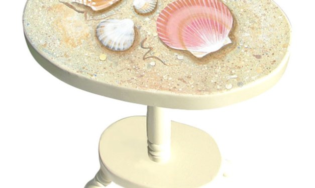 New Handpainted Seashell Tables – Perfect for a Cottage
