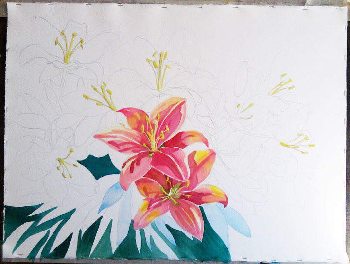 Starting Watercolor Of Lily Flowers How To Stretch Watercolor