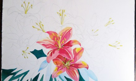 Starting Lily Flowers Painting – How To Stretch Watercolor Paper