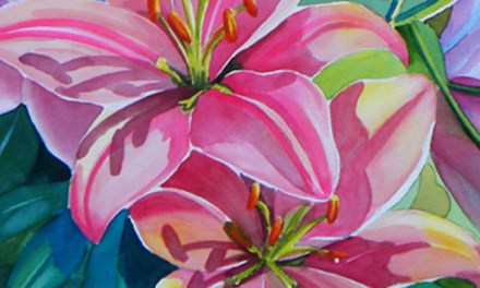 Almost Finished Pink Lily Flower Watercolor Painting