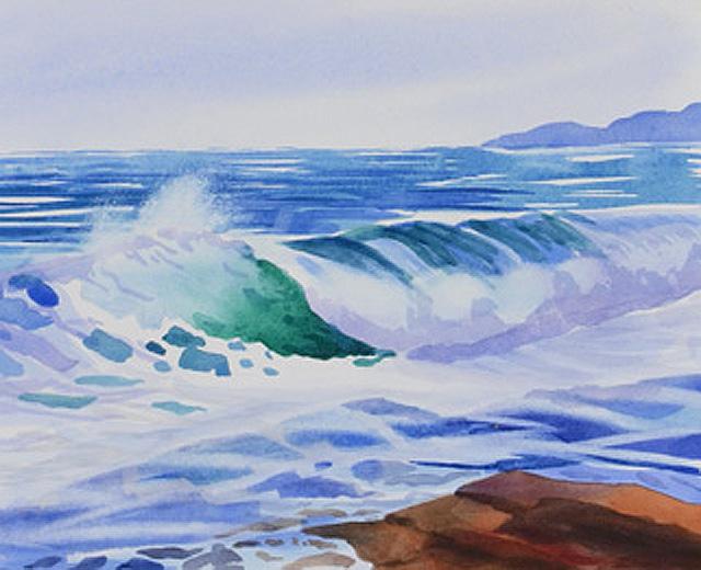 Painting 2 In My Ocean Waves Series – 10 inch by 13 inch Watercolor