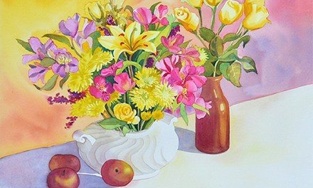 """Luminous"" Latest Watercolor of a Colorful Floral Painting"