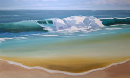 2nd Stage In Painting an Ocean Wave with a Sandy Beach in Oil Paint