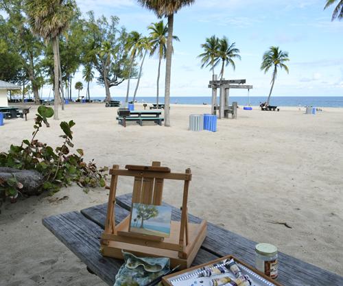 plein air painting at fort lauderdale beach.