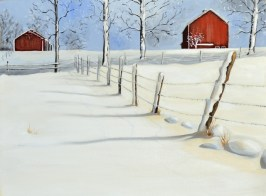 Snow scene with red barn oil painting