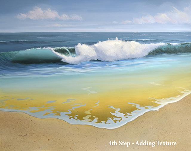 4th Step In Painting a Breaking Ocean Wave In Oil Paint