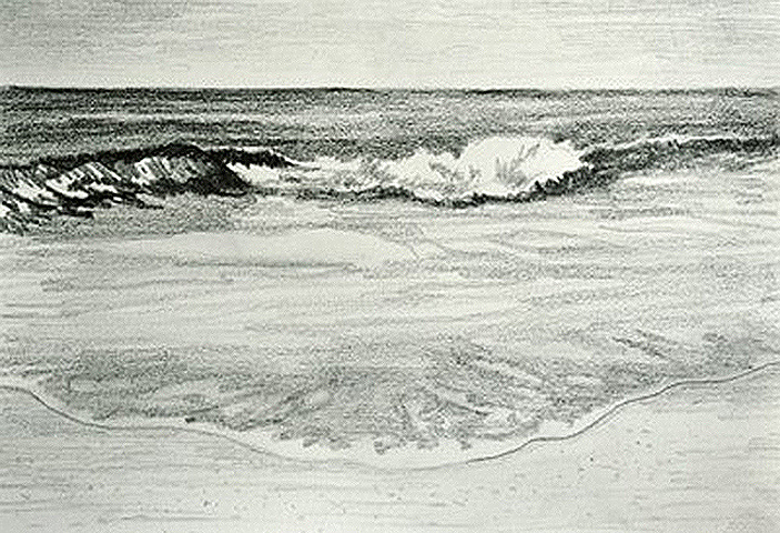 Sandy Beach Seascape Oil Painting Underway
