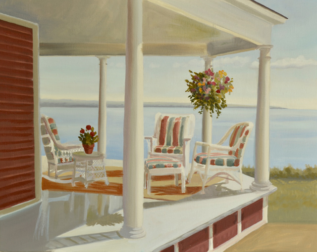 Oil Painting of Wicker Furniture on a Porch