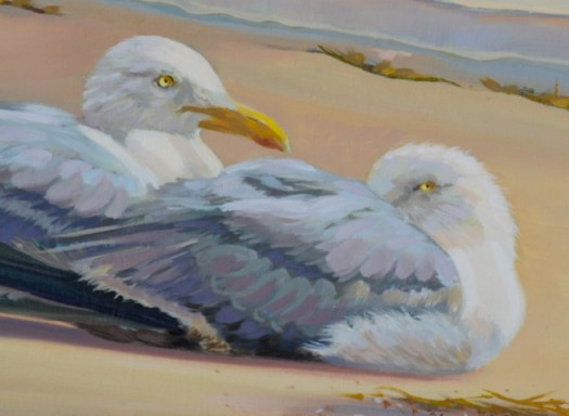 "Closeup of ""After the Storm"" oil painting of two seagulls resting on beach"