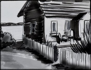 sketch for oil painting of a beach house