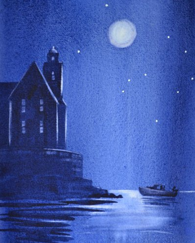 demonstration for how to improve watercolor paintings with this moonlight painting by PJ Cook