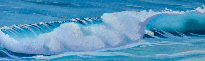 closeup of unfinished ocean wave oil painting by artist PJ Cook