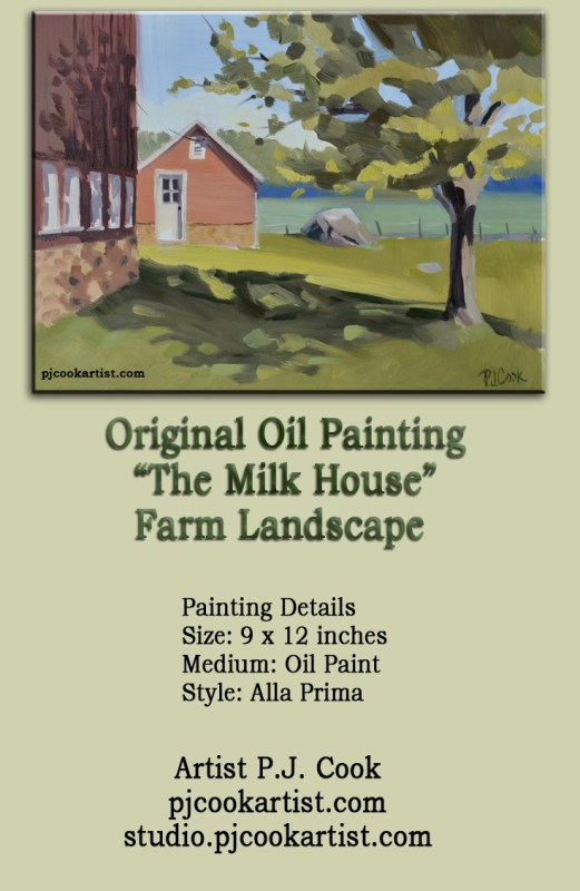red barn landscape painting by P.J. Cook