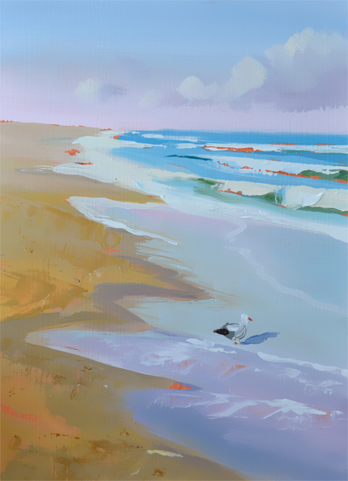 Stunning beach oil painting by PJ Cook, colorful sandy beach and waves with seagull