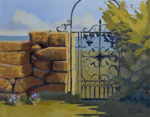 fancy gate oil painting stone wall and iron gate by PJ Cook artist.