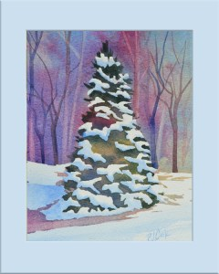 """First Snow"" Evergreen tree with snow and background of trees is the focus for this original watercolor by PJ Cook."