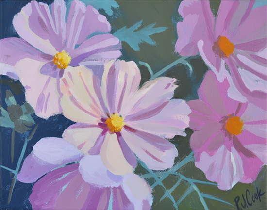 cosmos flowers original oil paint 8x10 on canvas by artist PJ Cook
