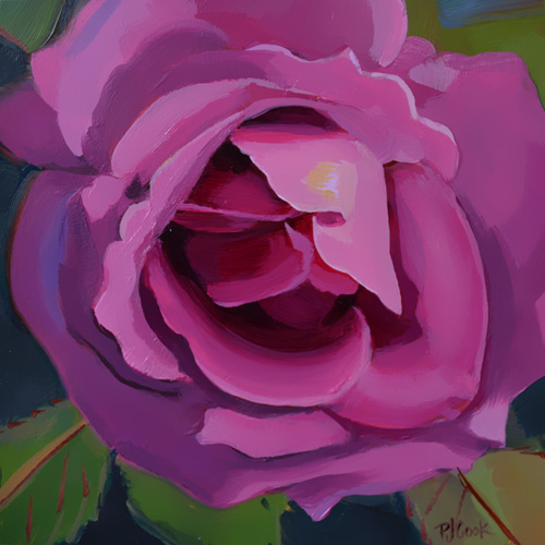 Luscious Deep Pink Rose Oil Painting