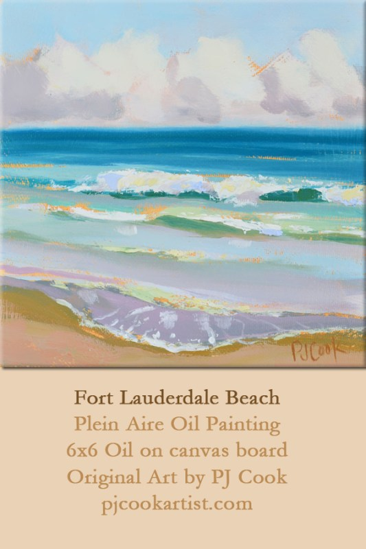 waves ft lauderdale florida beach plein aire oil painting.