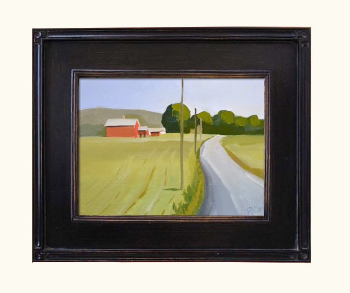 red barn landscape oil painting