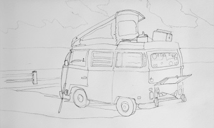 Old VW Bus Camper Van Drawing