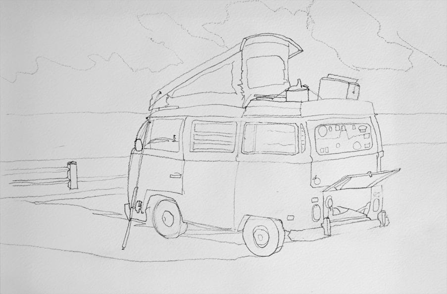 Old VW Bus Camper Van Drawing