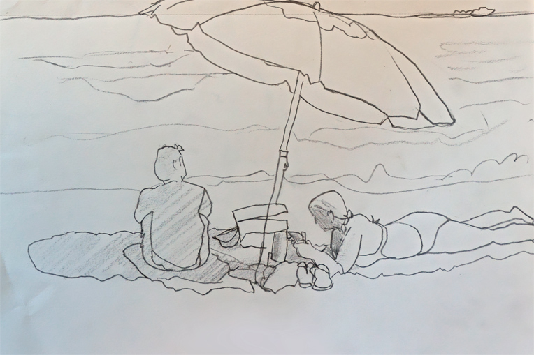 beach pencil sketch of 2 people under an umbrella on the sand