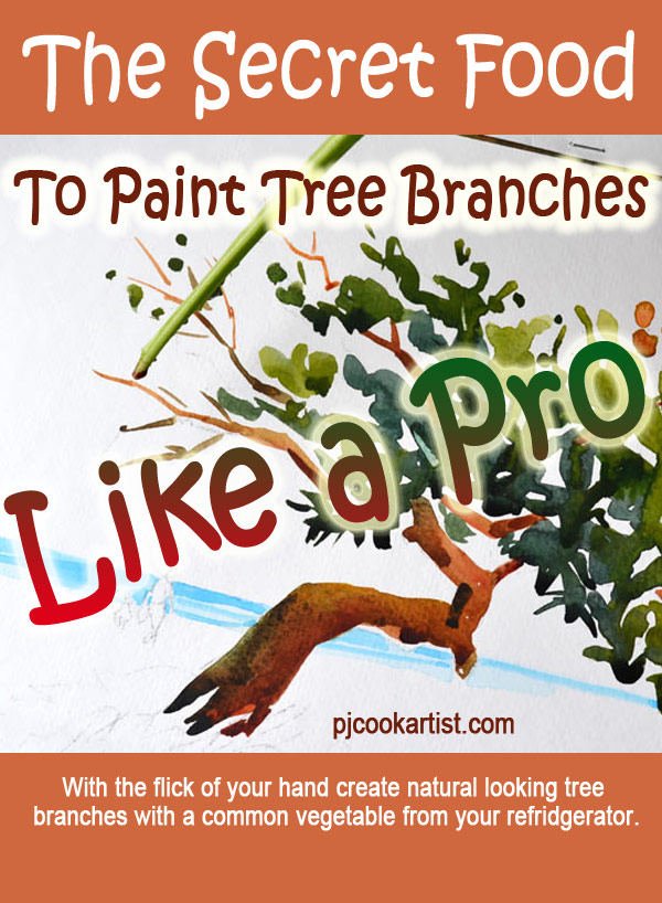 how to paint tree branches using a stalk of kale as a paint brush watercolor technique