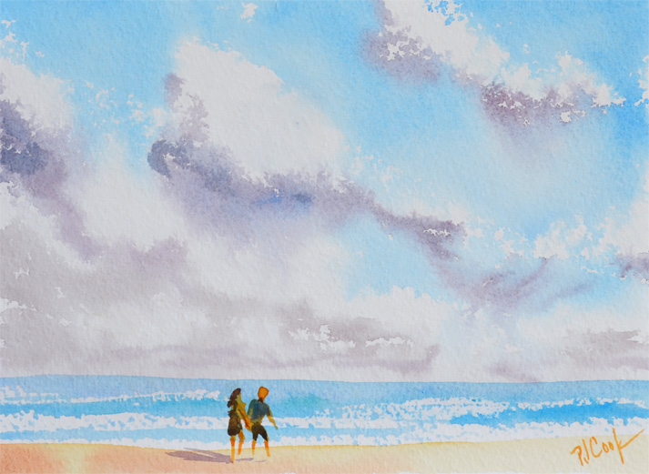 watercolor, tutorial, beach, clouds, couple walking