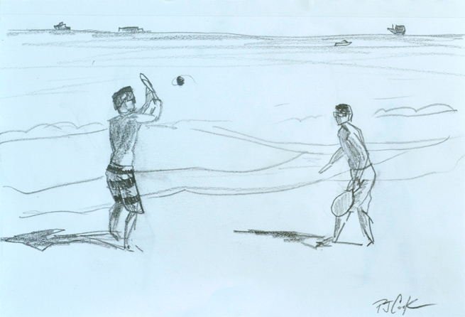 Beach Paddle Tennis Sketch