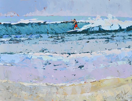 paddle surfing, ocean wave, oil on panel, 8x10