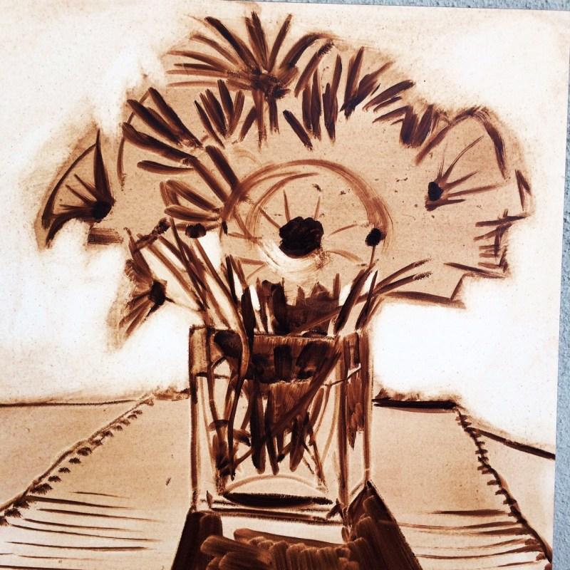 work in progress of daisies in orange glass vase