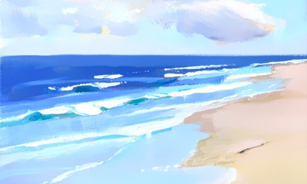 Sand Surf Seagulls Seascape Painting