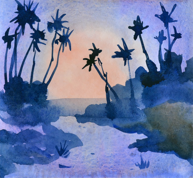 Stunning spotlight effect in this palm tree path watercolor tutorial.