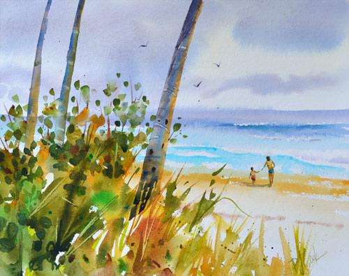 First surf beach scene, 11x14 inch original watercolor, PJ Cook