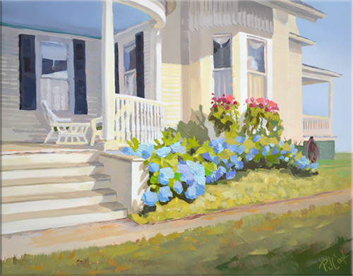 11x14 oil on panel, hydrangea blue flowers bordering a traditional porch