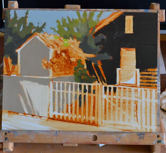 Sunlit Roses, 11x14 oil on panel, original painting underway